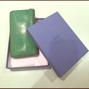Smythson Handbags - Smythson Turquoise Zip Travel Wallet