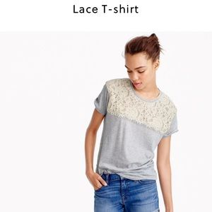 J. Crew Tops - J. Crew navy and green lace t shirt