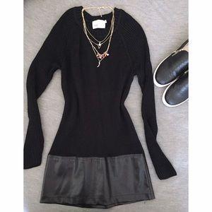 Yoon Dresses & Skirts - YOON Black Sweater Dress w/ Leather Detail