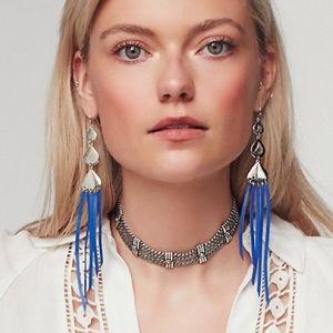 Free People silver blue leather long earrings