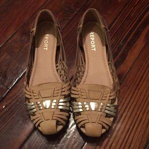 Report Shoes - Report Womens Yannick Woven Sandal Tan/Silver 8.5