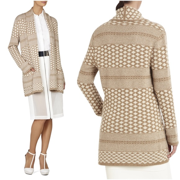 BCBGMaxAzria Sweaters - BCBGMAXAZRIA Shadia Cream Sweater Coat Cardigan S