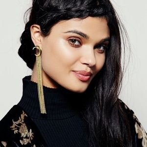 Free People long gold moon and star earrings