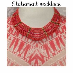 Statement necklace-orange and gold