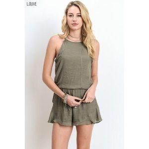 likeNarly Pants - Set Free Olive Green Romper