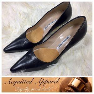 Manolo Blahnik Shoes - Manolo Blahnik Black Leather Kitten Heels