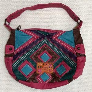 Nicole Lee Handbags - Nicole Lee Pink Patchwork Boho Shoulder Bag Purse