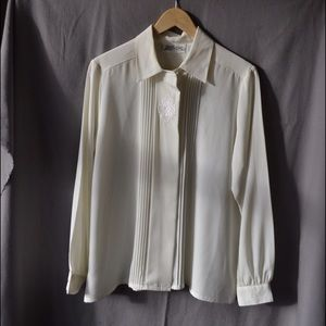 Vintage Off White Yves St.Clair Sheer Blouse, M/L