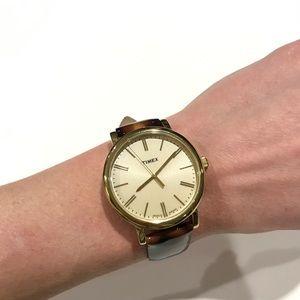 Timex Ladies Tortoise Gold Classic Round Watch