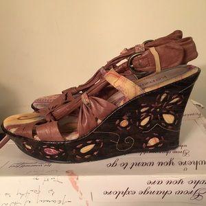 Kenzie Hamer Tan Wedge Sandals