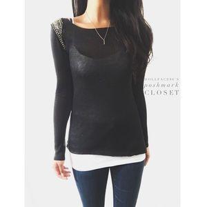 Zara Tops - NWT Zara Beaded Shoulder Knit Top