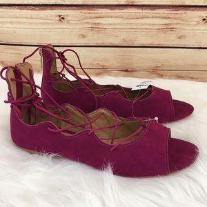 Charlotte Russe Shoes - ⚡️FINAL⚡️Cranberry lace up flats size 10 (new)