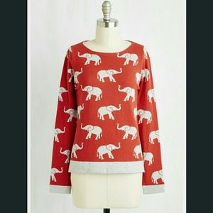 ModCloth Tops - NWOT Cute elephant thick sweater