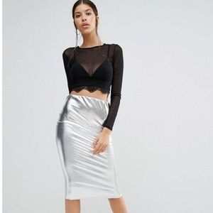 Boohoo metallic skirt