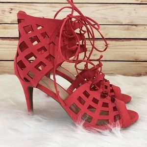Shoes - ⚡️FINAL⚡️Coral laser cut out heels size 10 (new)