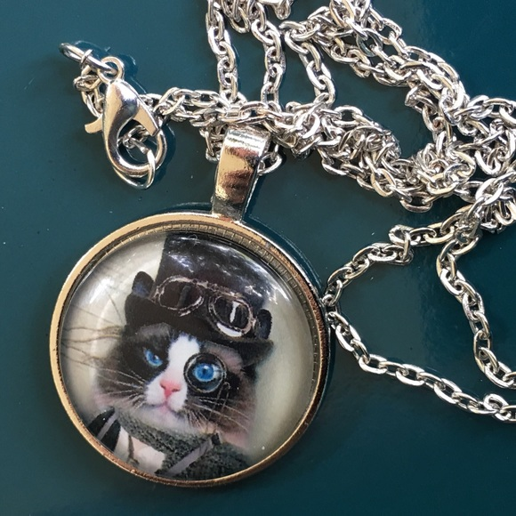 Funky steampunk cat in top hat pendant from sheila 39 s for Cat in the hat jewelry
