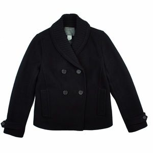 JCREW Black Wool Stadium Cloth Sasha Pea Coat