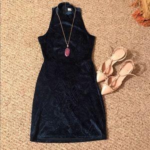 Blue Spero Dresses & Skirts - Blue Spero Navy Blue Velvet Cocktail Dress