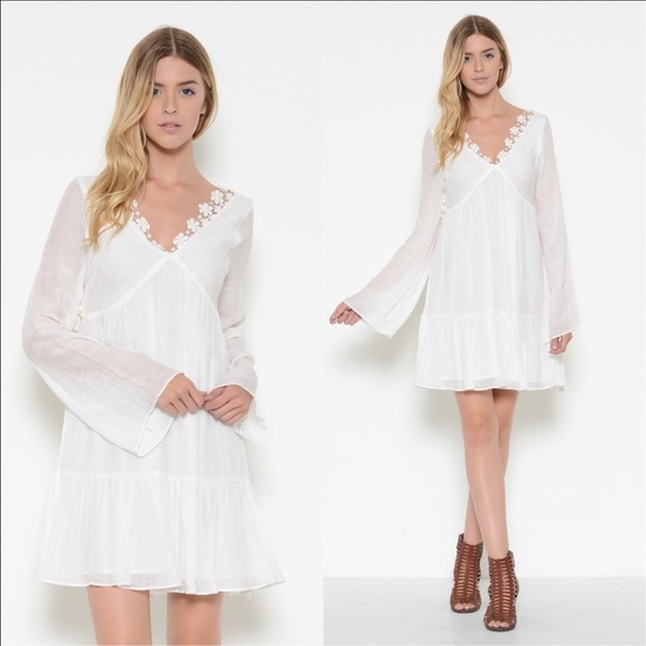🆕 Romantic Bell Shaped Sleeve V Neck Dress