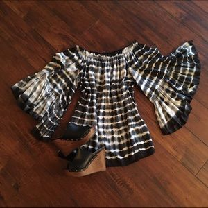 Tilly's Dresses & Skirts - Off the shoulder flare sleeve tie dye mini dress