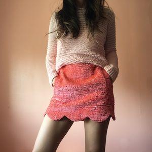 TopShop Neon Textured Scalloped Mini Skirt
