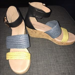 Restricted Shoes - Restricted Cork Wedge Heels Black Blue Yellow