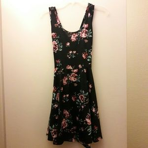 Black Dress w/Pink Flowers and Lace Back Detail
