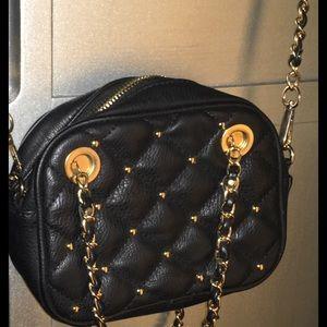 Black Quilted Crossbody/Handbag w/ Gold Detailing