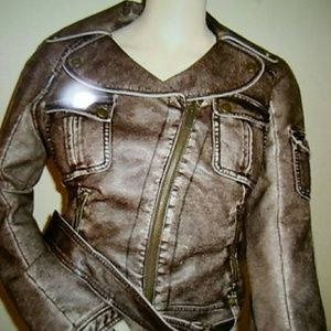 New bebe antique motorcycle jacket size S