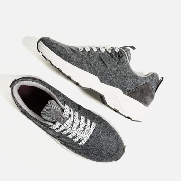 Nwt Zara Grey Felt Sneakers Shoes