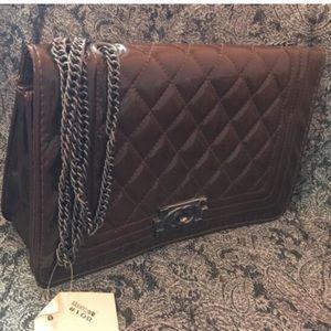 Handbags - Quilted glossy fashion handbag