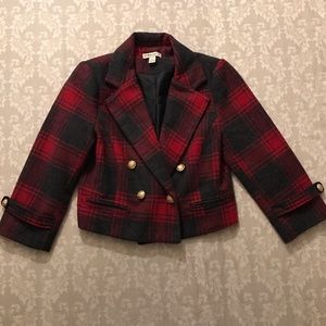 Forever 21 Red Plaid Cropped Jacket.