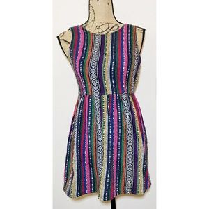 Ladakh Dresses & Skirts - LADAKH Multi-Color Tribal Print Striped Dress