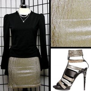 Dresses & Skirts - Sexy Metallic Silver Mini Skirt with Sewn In Slip