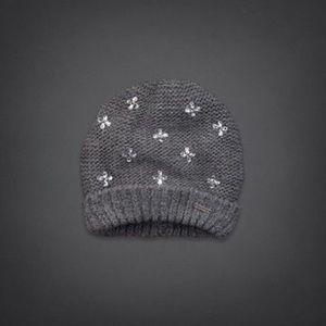 Hollister Accessories - Hollister Sparkly Gray Knit Rhinestone Hat