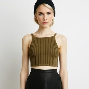 Forever 21 Olive Green 90s Ribbed Crop Top