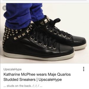 Maje Shoes - Maje Quarlos leather studded sneakers Worn Twice