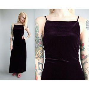 Jump Dresses & Skirts - Vintage 90s Dark Purple Velvet Maxi Dress