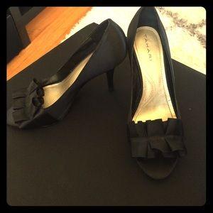 Tahari Shoes - Tahari black ruffled open toe heel