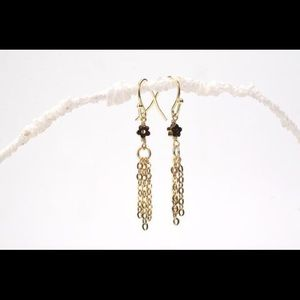 Gold Daisy Tassel Earrings