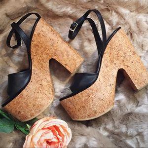 Jeffrey Campbell Shoes - Leather & Cork Platform Heel Sandals Melrose
