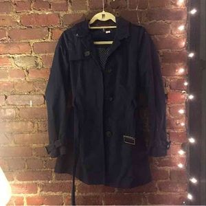 Navy Blue Belted and Hooded Jacket