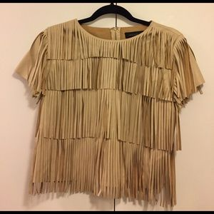 English Factory Tops - Fringe Leather Top