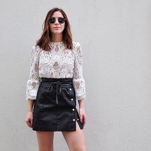 Mango Leather Mini Button Skirt