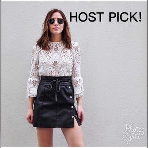 ❤️HOST PICK!❤️ Mango Leather Mini Button Skirt