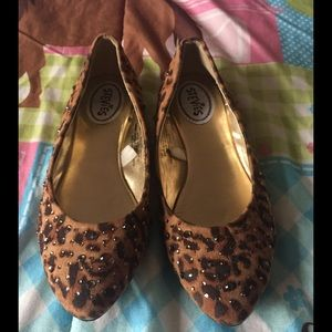 Stevies Other - Jeweled Leopard Print Girls Ballet Flats Size 2