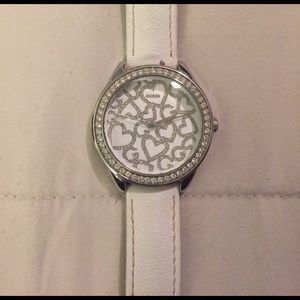 Guess white and diamond watch