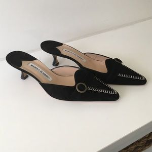 Manolo blank suede slides worn once.