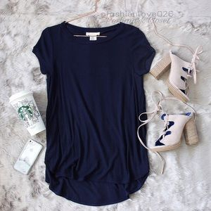 High side slits Ribbed tunic top