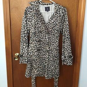 Cheetah print trench coat